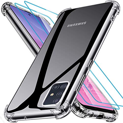 Samsung Galaxy A71 Hülle [2 Panzerglas Schutzfolie], Joyguard Samsung A71 Hülle Silikon Ultra Dünn TPU Bumper Anti-Kratzer Schock-Absorption Samsung Galaxy A71 Handyhülle - Klar