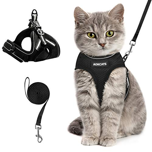 AOKCATS Cat Harness and Leash Set for Walking Escape Proof, Soft Adjustable Kitten Harness with Reflective Strips, Step-in Vest Harness for Small Cats Comfort Fit Cat Leash and Harness Set, Black, M