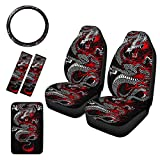 Pensura Steering Wheel Cover Car Seat Covers Full Set Center Console Armrest Pad Cover Universal Seat Belt Pads Cool Dragon Gift for Men Women 6 Sets