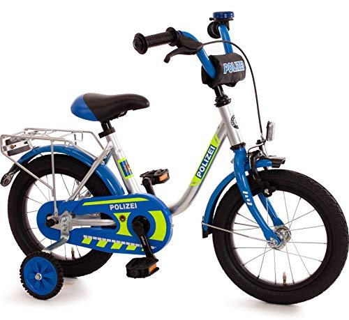 Bachtenkirch Kinderfahrrad 14 Zoll mit Stützräder und Rücktrittbremse Jungen Mädchen Fahrrad für Kinder ab 3 Jahren deutsche Polizei