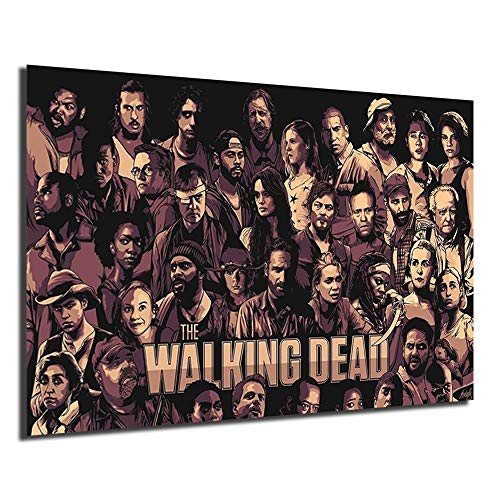 The Walking Dead Canvas Poster Print Anime Painting Black White Wall Street Art Picture Modern Home Decoration (No Framed,12x18inch)