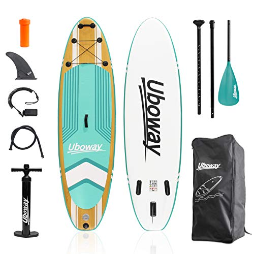 Signstek aufblasbare Stand-Up-Paddle-Boards: 305 * 80 * 15 cm (10 Fuß) SUP mit verstellbarem Paddelrucksack Pump Leash Fin Youth Adult Stand-Up-Paddleboard