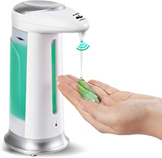 Automatic Soap Dispenser, Touch Free Refill Countertop Soap Pump(330ml) with Waterproof Base, No Touch Infrared Sensor Soa...