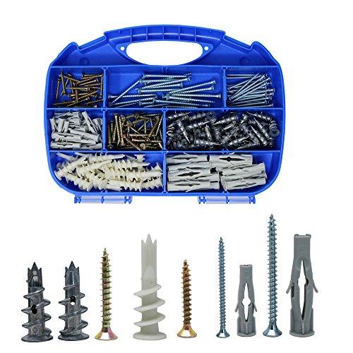 ORGRIMMAR Gipskartondübel Spiral Plus Universaldübel Metallperlen Driva Gipskartondübel mit Schraube und Schrauben, 220Pcs