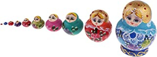 Baosity 10 PCS Chromatic Wooden Russian Nesting Dolls Babushka Matryoshka Gift Decor