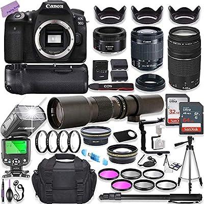 Canon EOS 90D DSLR Camera w/ 18-55mm Lens Bundle + Canon 75-300mm & Canon 50mm f/1.8 Lens + 500mm Preset Lens + Camera Case + 96GB Memory + Battery Grip + Speedlight Flash + Commander Optics Bundle