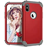 Folice iPhone Xs Case, iPhone X Case, Three Layer Hybrid Heavy Duty Sturdy Armor Shockproof Full Body Protective Cover Case for Apple iPhone X/Xs (Red+Deep Gray)
