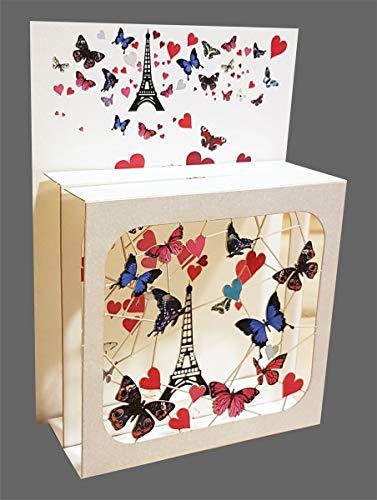 Pop Up 3 Ebenen 3D Laser Karte Geburtstag Hand gesteckt Paris 17x13cm