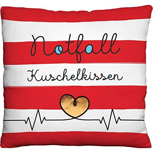 GRUSS & CO Kissen, Polyester, Rot, Weiß, 25 cm x 25 cm