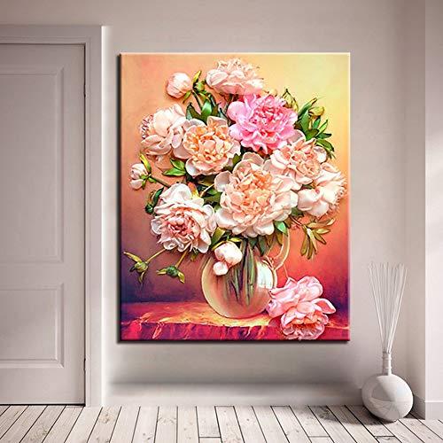 QAZEDC Digitale schilderij handgemaakte speelgoed puzzel Bloem DIY Olieverfgetallen, Kleurplaten pioen schilderijen, Canvas Afbeeldingen, Kalligrafie, Acryl Muur Kunst Kits, Handschilderingen, Woonkamer Decor