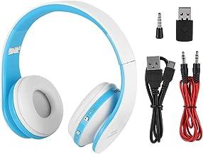 Fone de ouvido sem fio, microfone integrado Fone de ouvido Bluetooth com receptor para jogos para PS4(Branco azul)