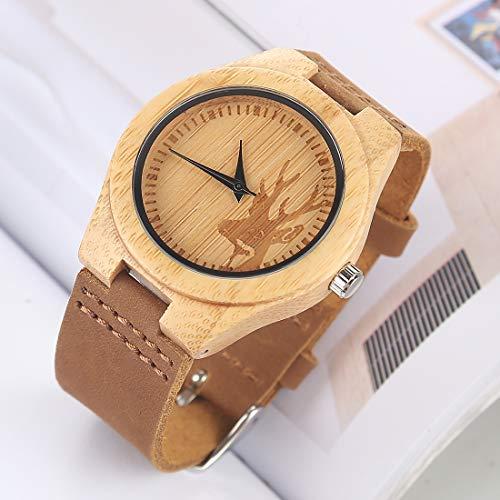 Reloj Digital, Reloj De Reloj, Reloj De Cuero De Madera, Reloj De Cáscara De Bambú Redondo con Correa De Cuero De Madera Especial Clásico (Color : Color3)