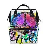 MIMUTI バックパック カラフルな背景の上の平和のヒッピーシンボル 男女兼用 通学 通勤 旅行 スポーツ バッグ