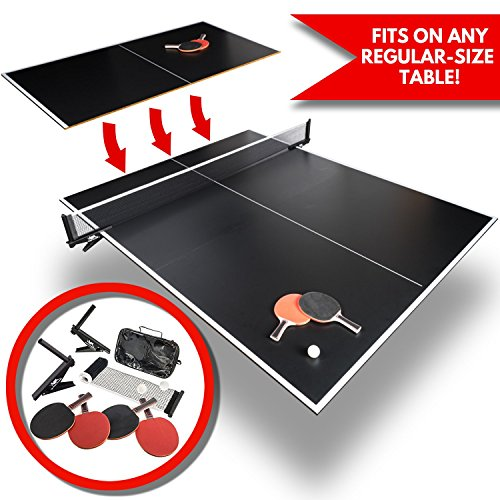 Convertible Table Tennis Top | Full Size | Tri Folding Portable Ping Pong Conversion Set | Includes Balls, 4x Racket and Net | Foldable Tops for Pool Tables