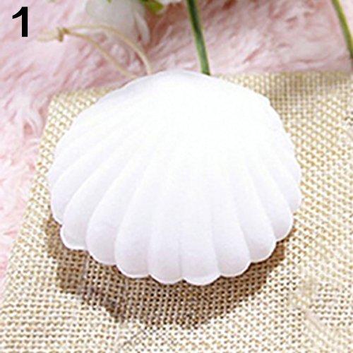 Saniswink - Moda y ligera, ideal para joyas de bricolaje, bonita caja de exhibición en forma de concha, collar, anillo, aretes, caja de regalo – color blanco