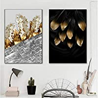 """北欧の黄金の植物花葉キャンバス絵画ポスター印刷ユニークな装飾壁アート写真リビングルーム通路27.5"""" x35.4""""(70x90cm)x2フレームレス"""