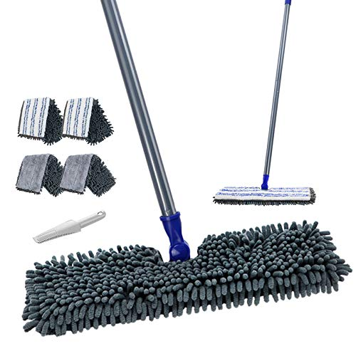 Flat Mop with 4 Mop Pads Double Sided Hardwood Floor Dust Mop Microfiber &...
