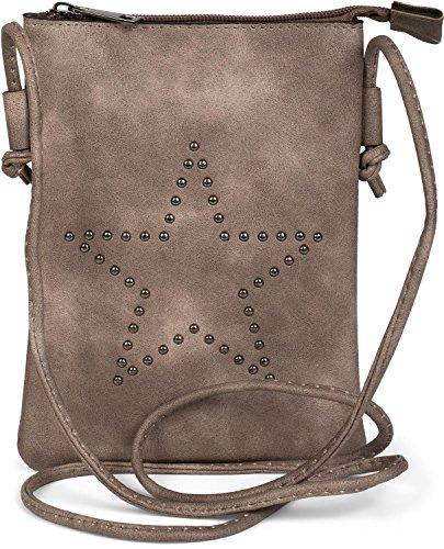styleBREAKER Mini Bag Umhängetasche mit Nieten in Stern Form, Schultertasche, Handtasche, Tasche, Damen 02012235, Farbe:Taupe