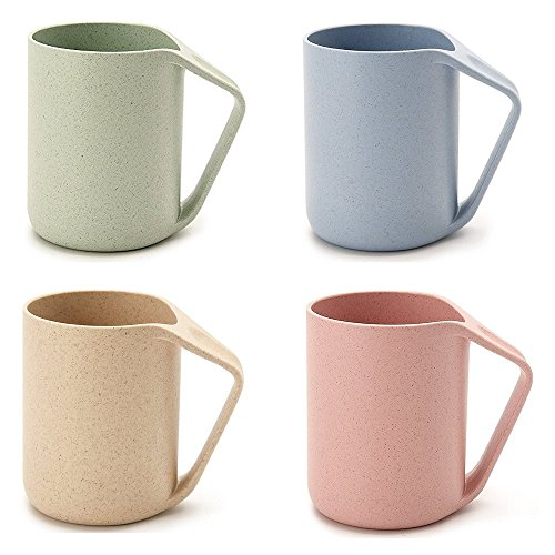 UPSTYLE Retro Eco-friendly Wheat Straw Lightweight Cup Biodegradable Mug Plastic Tumbler for Water, Coffee, Milk,Tea Size 13.5 oz (pack of 4)