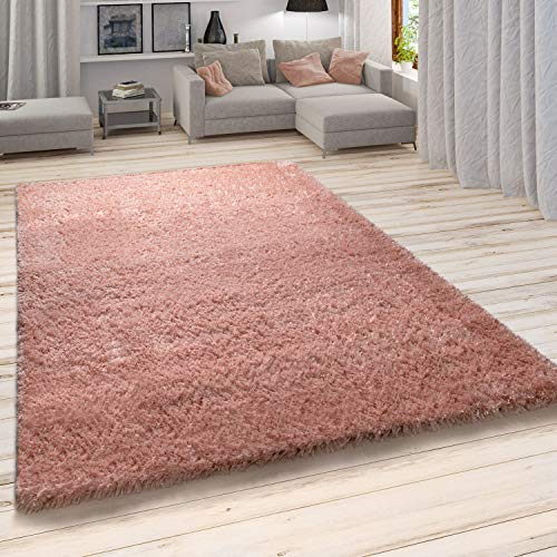 Paco Home Hochflor Teppich, Weicher Moderner Wohnzimmer Shaggy in Flokati Optik, Einfarbig, Grösse:140x200 cm, Farbe:Beige