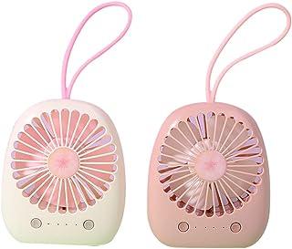 HUI JIN Ventilador de escritorio USB con correa, Mini ventilador portátil con batería recargable, silencioso ventilador personal para casa, oficina, viajes, camping, color al azar