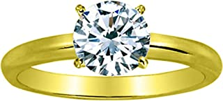 3 Ct Round Cut 4 Prong Solitaire Diamond Engagement Ring 14K White Gold (H Color VS2 Clarity)