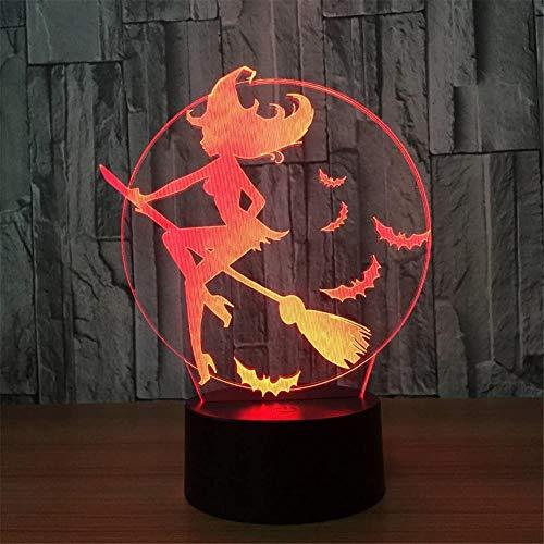 3D Illusion Lampstarry Heks USB afstandsbediening Kinderdag Verjaardag Gift