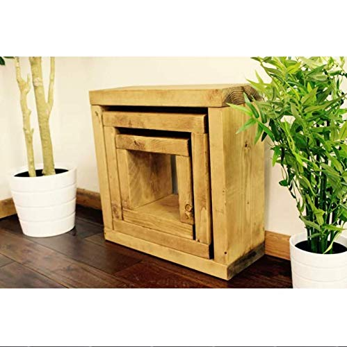 AlpenHome Dotsero Rustic Cube PineWood 3 Piece Nest of Tables