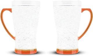 كوب كريستال متوهج | عزل جدار مزدوج للمشروبات الباردة ، برتقالي ، 16 أوقية ، مجموعة من 2