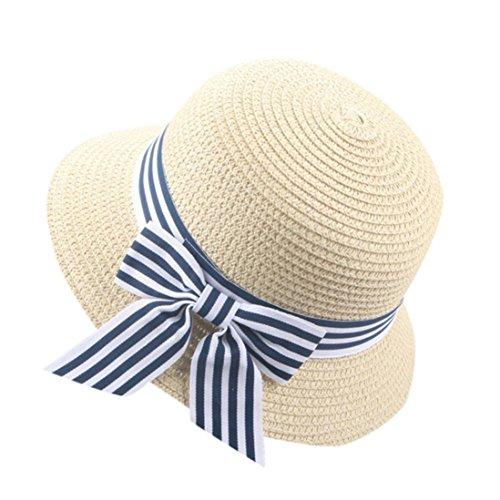 Sombrero del Sol del Verano De Los Niños AIMEE7 Sombrero De Copa del Sombrero De Paja De La Playa (Beige 2)