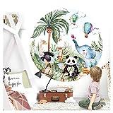 Little Deco Wandtattoo Kinderzimmer Wandsticker Tiere Wald 60 cm Wanddeko Spielzimmer Sticker Kind Wandaufkleber selbstklebend Panda Elefant Safari rund DL558