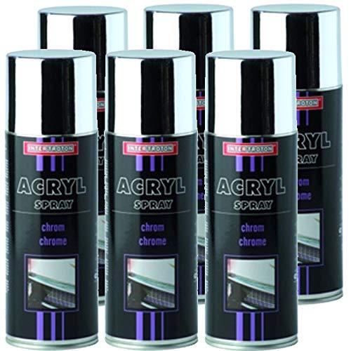 Troton Chrome Spray 6 x 400 ML Spray Chrome Argent Effet Peinture Spray Chrome Couleur Chrome Spray Chromé Voiture Peinture Spray