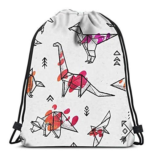 WH-CLA Bolsas De Cordones Unisex,Dinosaurios De Origami con Diversión De Salpicaduras De Colores Abstractos Cómodo Mochila Cordónes Durable Gimnasia Saco Bolsa para Deportes Escuela Viajar