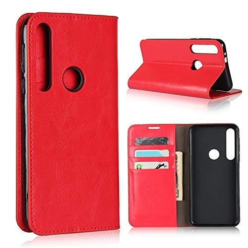 Happy-L Funda para Moto G8 Play, funda tipo libro, funda tipo cartera de piel auténtica de primera calidad con ranuras para tarjetas y función atril (color: rojo)