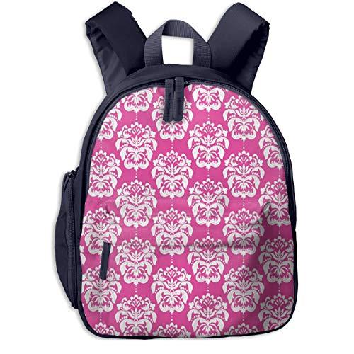 Kinderrucksack Elegante rosa Florale viktorianische Tapete Babyrucksack Süßer Schultasche für Kinder 2-5 Jahre