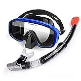Tbaobei-Baby Gafas de Snorkel Snorkel Set Anti-Niebla Buceo con máscara del Salto, Gafas de natación Equipo de Buceo con Tubo de respiración Snorkel Gafas (Color : Blue, Size : One Size)