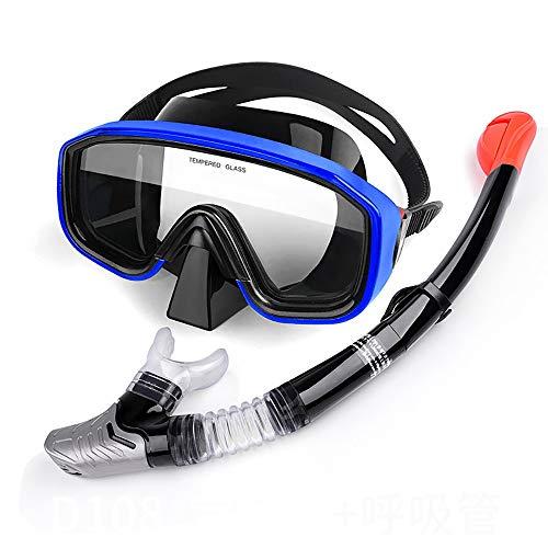 Traje de máscara Durable Snorkel Set Anti-Niebla máscara de Buceo de Buceo, Gafas de natación Engranaje de Snorkel con Tubo de respiración Adecuado para Snorkeling (Color : Blue, Size : One Size)