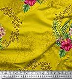 Soimoi Gelb Schwere Canvas Stoff Blätter & Plumeria