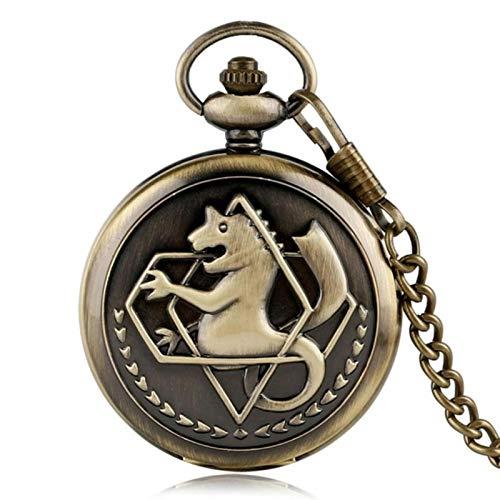 ZMKW Pocket Retro Silver Quartz Reloj de Bolsillo Hombres Moda Anime japonés Fullmetal Alchemist Collar Relojes Regalo...