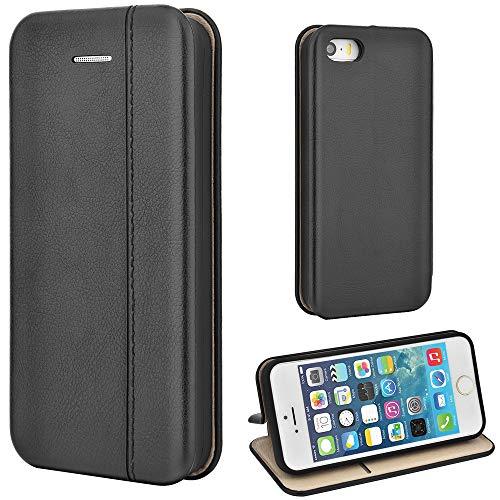 Leaum iPhone SE Hülle, iPhone 5S Handyhülle Lederhülle Flip Hülle für Apple iPhone SE / 5S / 5 Schutzhülle Leder (Schwarz)