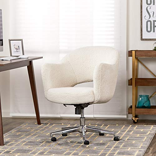 Serta Valetta Upholstered Home Office Desk Modern Swivel Accent Chair, Memory Foam Seating, Cream Fuzzy Faux Fur