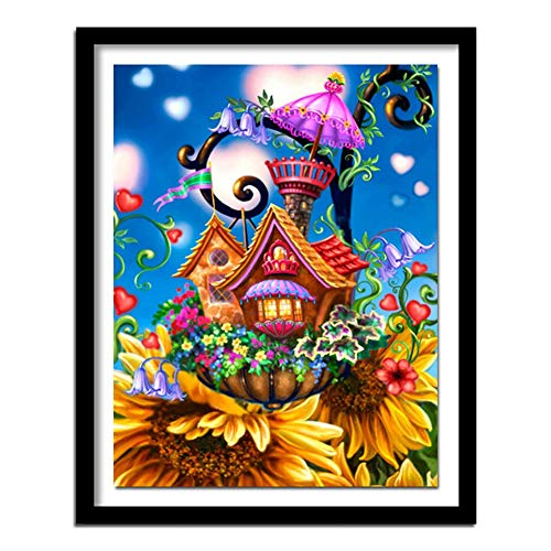DIY 5D Diamond Painting by Number Kits, Cartoon Sunflower House Colorful Full Rhinestone Mosaic Pictures Embroidery Cross Stitch Diamond Arts Craft for Living Room Wall Decor -Round Drill,60x80cm