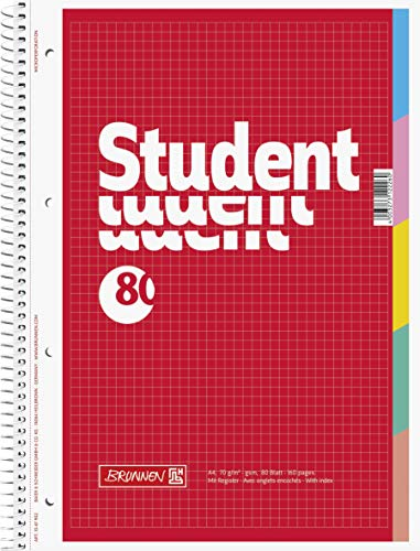 Brunnen 1067902 Notizblock/ Collegeblock Student (mit Register, A4, kariert, 70 g/m², 80 Blatt), 5er Pack