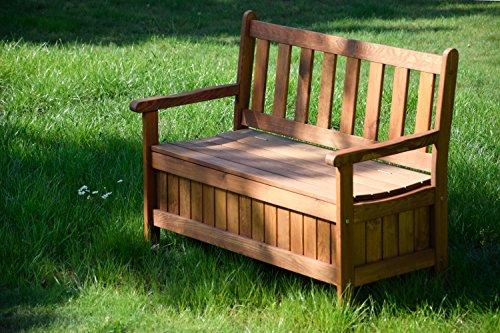 dobar Gartenbank Massive mit Lehne 2-Sitzer aus FSC Holz, 115x58x89cm, braun - 7