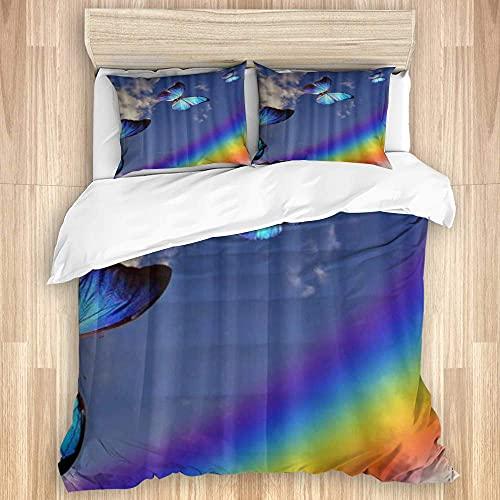 1511 Juego de funda de edredón de algodón lavado, Rainbow Beauty by The Sea Starfish colorido multicolor, juego de cama de lujo suave de 3 piezas tamaño King (sin edredón)