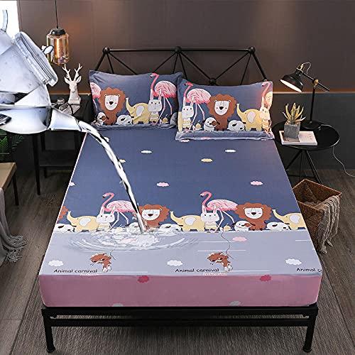 HPPSLT Matratzen-Bett-Schoner mit Spannumrandung | Auch für Boxspring-Betten und Wasser-Betten geeigne Wasserdichtes Bettlaken mit Baumwolldruck - 4_150 cm × 200 cm