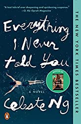 Everything I Never Told You by Celeste Ng book cover with a woman swimming in blue water