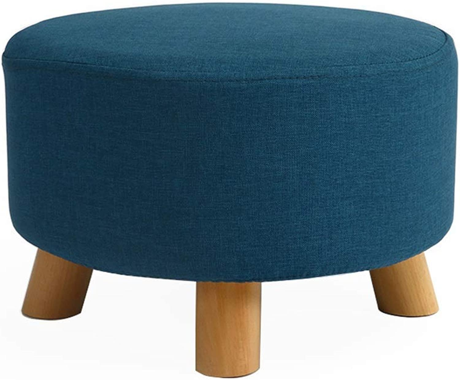 JUN Change shoes Footstool,Round Upholstered Pouffe shoes Stool with Wooden Legs,42×42×26cm (L×W×H) (color   B)