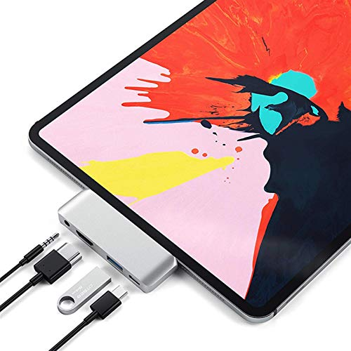 USB C Hub, 4-in-1 Portable Mini 4K HDMI USB 3.0 3.5mm Headphone Jack Type-C Adapter Pd Quick Charge Plug And Play, For 2020 IPad Pro Tablet Hub
