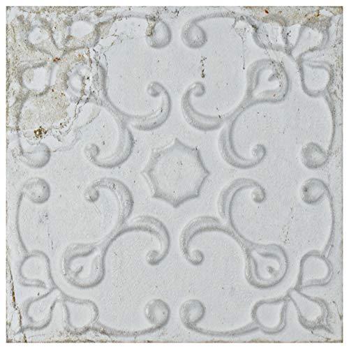 SomerTile WAIAVWO Aevum White Ornato x 7-7/8 in. Ceramic Wall Tile, 7.88